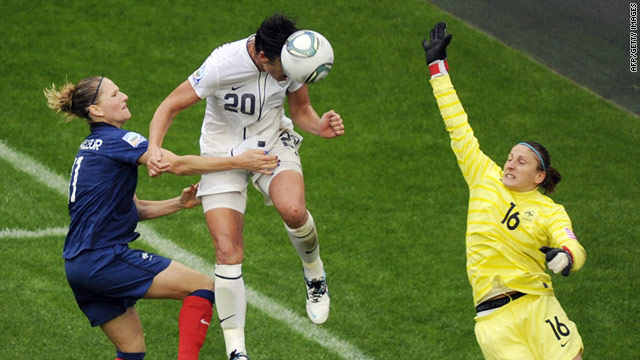 U.S. striker Abby Wambach heads home the go-ahead goal in the 79th minute.