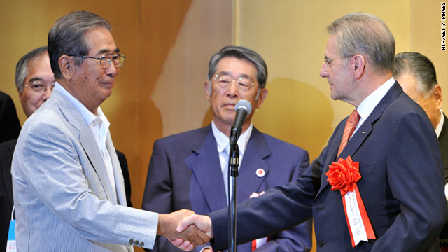Tokyo governor Shintaro Ishihara (left) shakes hands with IOC president Jacques Rogge.