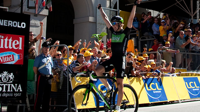 Boasson Hagen crosses the line to claim his second stage win and Norway's fourth in this year's Tour de France.