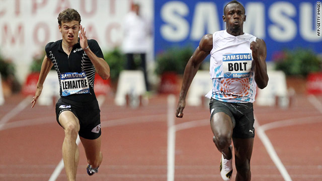 Usain Bolt, right, crossed the finish line first in Monaco while France's European champion Christophe Lemaitre was fifth.