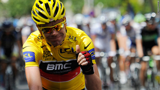 Australian Cadel Evans on his way to a debut Tour de France victory.