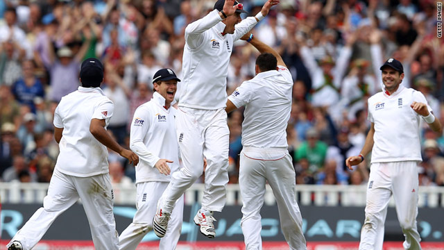 England's players celebrate at Edgbaston as India are bowled out for 244 in their second innnings.
