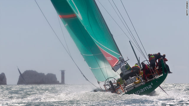 Groupama Sailing Team skippered by Franck Cammas from France approaches The Needles during the Rolex Fastnet Race.