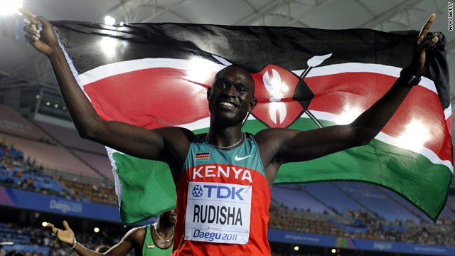 David Rudisha celebrates his gold medal at the world championships in Daegu, South Korea.