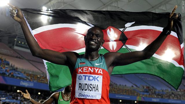 David Rudisha celebrates his gold medal at the world championships in Daegu, South Korea.