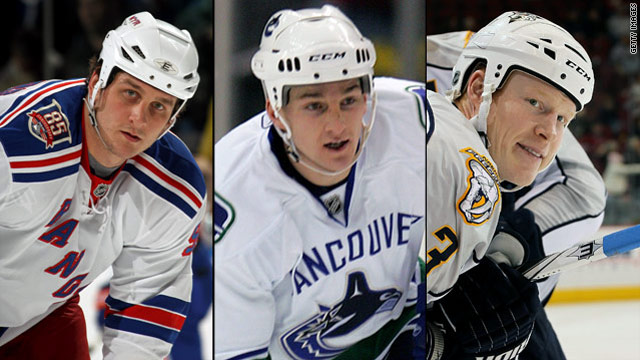 NHL enforcers Derek Boogaard, left, Rick Rypien and Wade Belak died this summer.