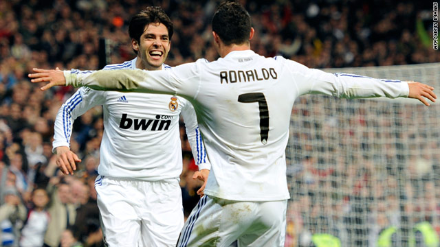 Kaka and Cristiano Ronaldo celebrate another goal as Real Madrid twice come from behind to beat Villarreal.