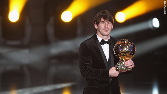 Lionel Messi with the FIFA Ballon d'Or award at the ceremony in Zurich.