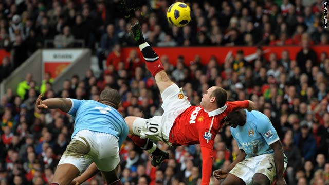Wayne Rooney's acrobatic strike proved decisive in the Manchester derby at Old Trafford.