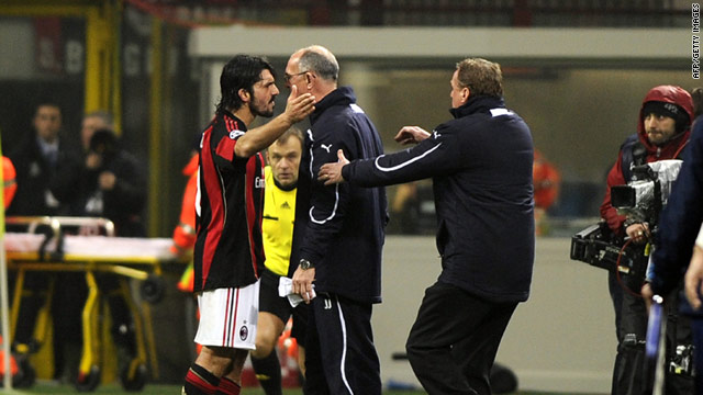Gennaro Gattuso and Joe Jordan come face-to-face during Tottenham's 1-0 victory at the San Siro on Tuesday.