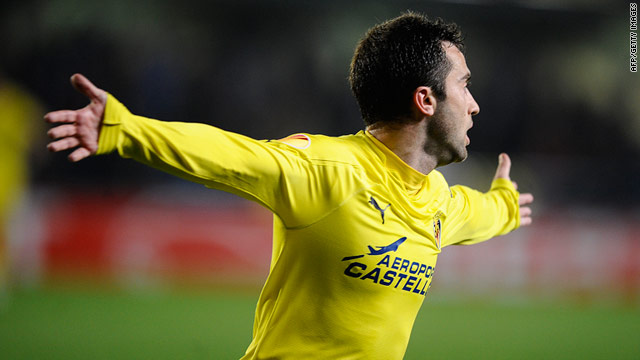 Villarreal's Italy international Giuseppe Rossi celebrates after scoring the goal that knocked out his compatriots Napoli.
