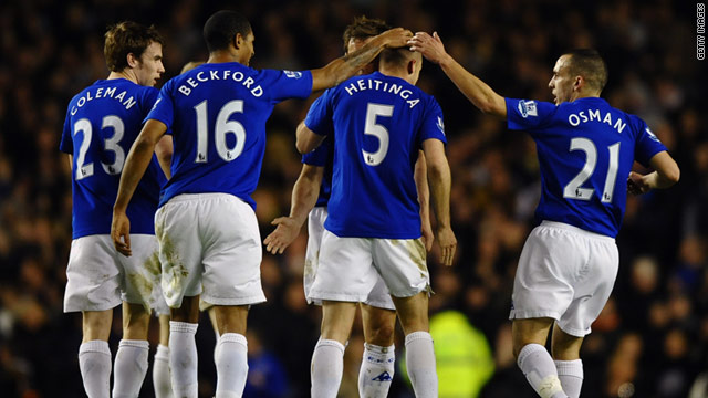 Everton players celebrate John Heitinga's equalizing goal in the 1-1 home draw with Birmingham.