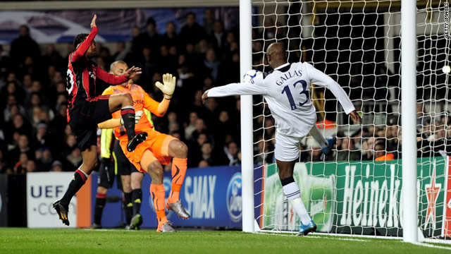 Tottenhm's French defender William Gallas clears a shot from Robinho off the line during the 0-0 draw at White Hart Lane.