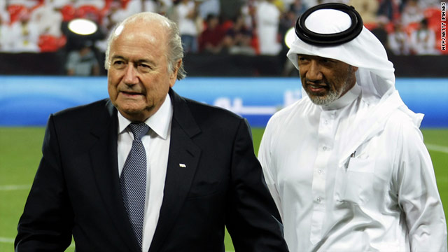FIFA president Sepp Blatter, left, with AFC president Mohammed Bin Hammam at the 2010 Club World Cup.