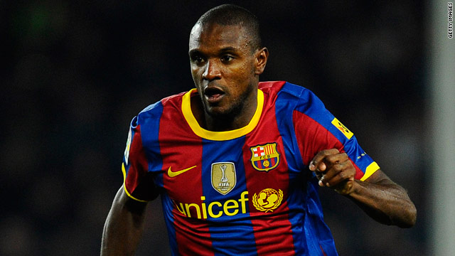 Barcelona defender Eric Abidal is recovering at home after having surgery on a liver tumor.