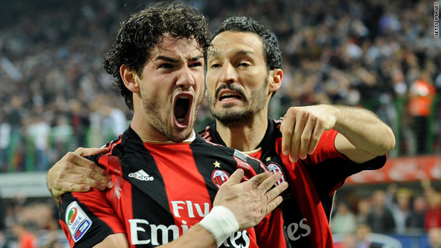 Alexandre Pato, left, was a key figure as the Italian leaders defeated Inter for the second time this season.