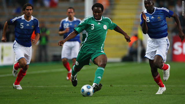 Olubayo Adefemi representing Nigeria against France in an international friendly match in St Etienne in June 2009.