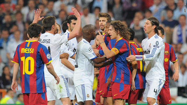 The first leg of the Champions League semifinal was marred by a series of confrontations on the pitch.