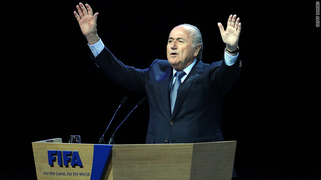 Sepp Blatter addresses soccer delegates in Zurich, Switzerland, after being re-elected FIFA president.