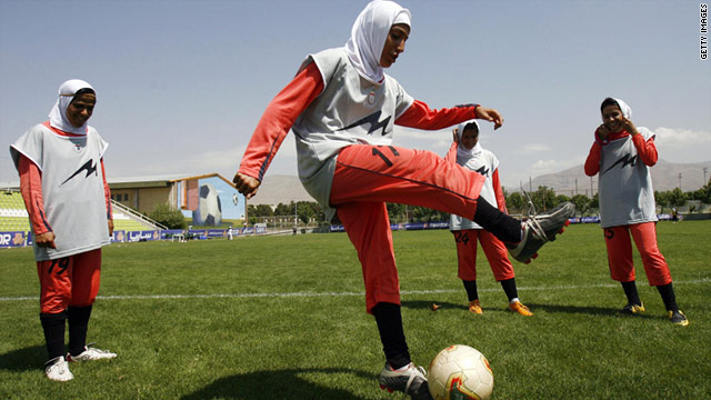 Iran's women's soccer team team practising in Tehran in 2009.