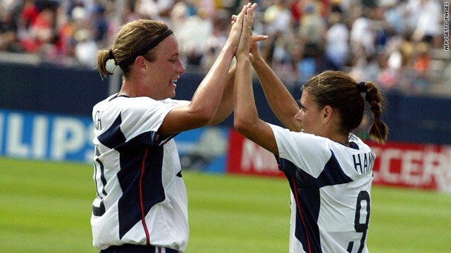 The legendary Mia Hamm, right, handed over the scoring duties for the U.S. women's soccer team to Abby Wambach in 2004.