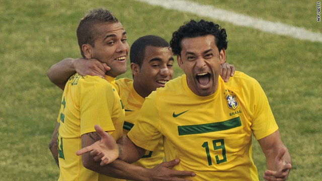 Brazil substitute Fred celebrates his late equalizer against Paraguay in Cordoba.