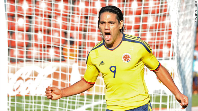 Radamel Falcao celebrates scoring Colombia's opening goal in their 2-0 victory over Bolivia.