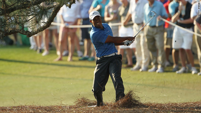 Tiger Woods suffered his injury while playing this shot at the 17th hole at Augusta on April 9.