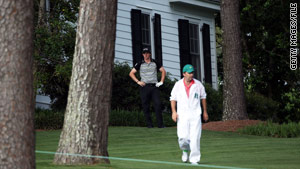 McIlroy's tee shot on the 10th hole at the Masters ended up near one of the cabins on the course.