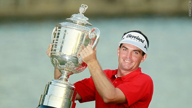 Keegan Bradley lifts the Wanamaker Trophy after claiming the PGA Championship in Atlanta.