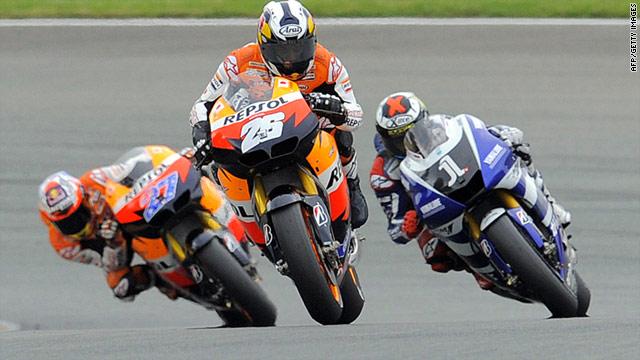Dani Pedrosa led home world champion Jorge Lorenzo and his Repsol Honda teammate Casey Stoner at the Sachsenring.
