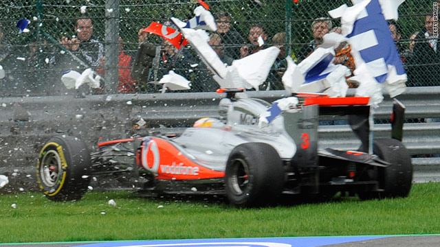 Lewis Hamilton smashed through an advertising board as he crashed out of the Belgian Grand Prix.