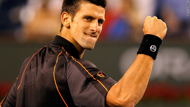 Novak Djokovic celebrates reaching the third round of Indian Wells event.