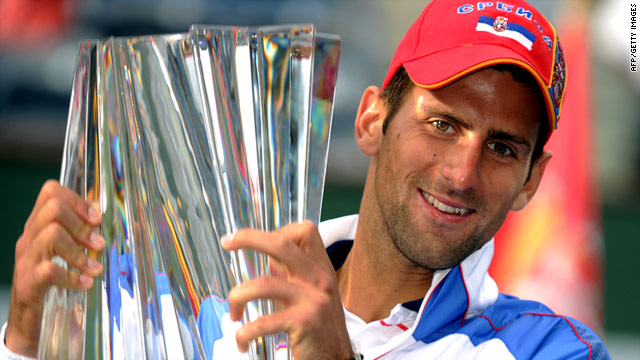 Serbian star Novak Djokovic lifted the winner's trophy for the second time at Indian Wells, following up his 2008 triumph.
