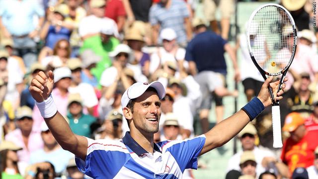 Novak Djokovic savors his final's triumph over Rafael Nadal in Miami to win his fourth title of 2011.