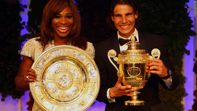 Serena Williams and Rafael Nadal pose with the Wimbledon trophies they secured in 2010.