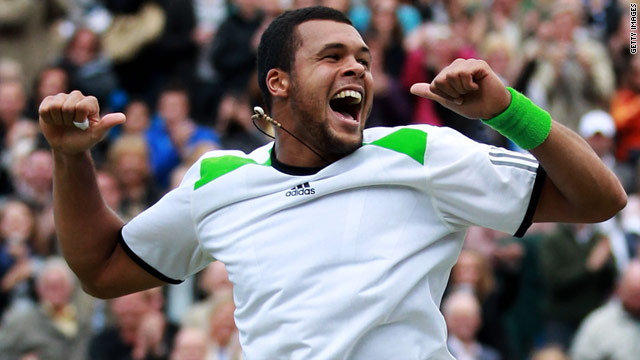 Jo-Wilfried Tsonga celebrates dumping world number one Rafael Nadal out of the Queen's Club tournament.