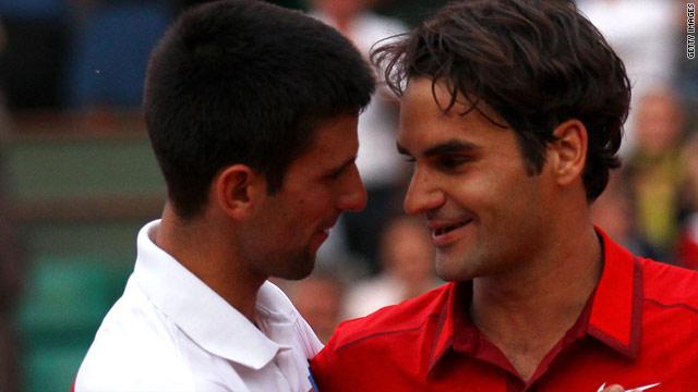 Roger Federer, right, stopped Novak Djokovic equaling John McEnroe's record of 42 wins at the start of a season.
