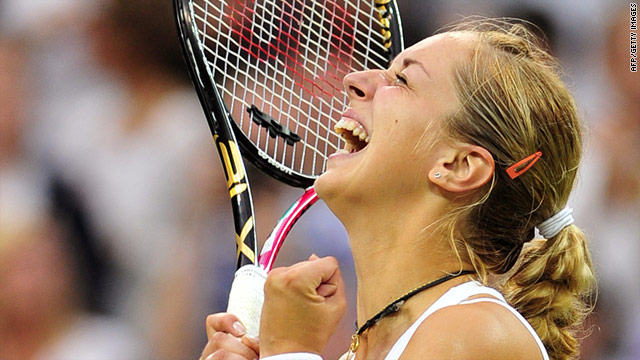 Sabine Lisicki can barely contain her joy after defeating French Open champion Li Na at Wimbledon.