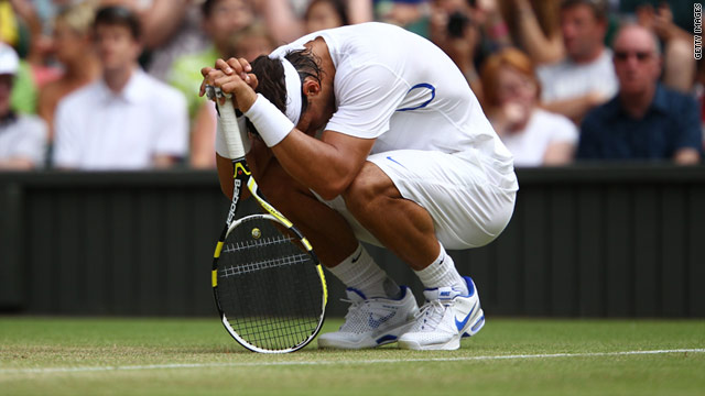 Rafael Nadal battled through injury to beat Juan Martin Del Potro but his Wimbledon could be over.