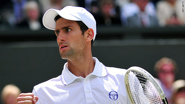 A fired up Novak Djokovic on his way to a four-set victory over Jo-Wilfiied Tsonga on Centre Court.