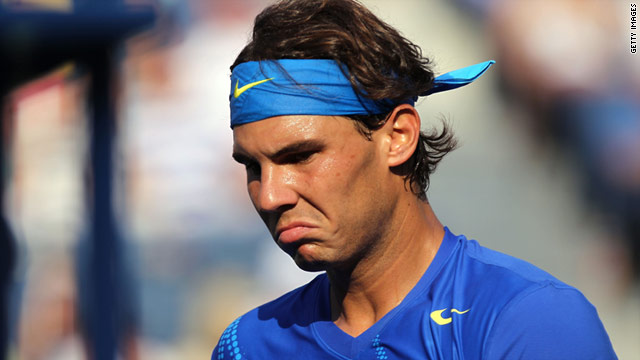 Rafael Nadal collapsed in a press conference on Sunday in New York due to a bout of cramp.