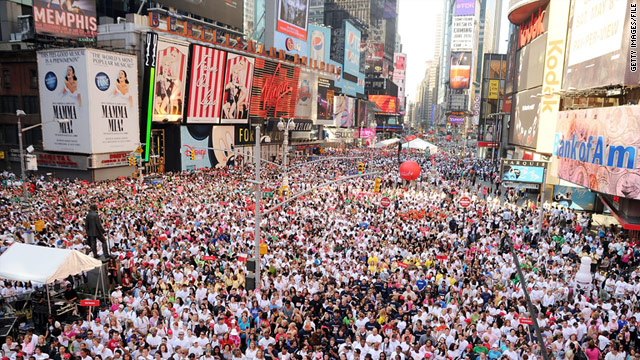 Crowds fill New York's Times Square for the 13th Annual Entertainment Industry Foundation Revlon Run/Walk For Women in May.