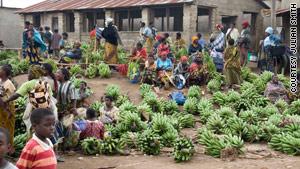 Bananas are for sale in Tanzania.