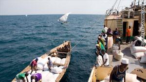 Supplies get loaded onto the Liemba on Lake Tanganyika.