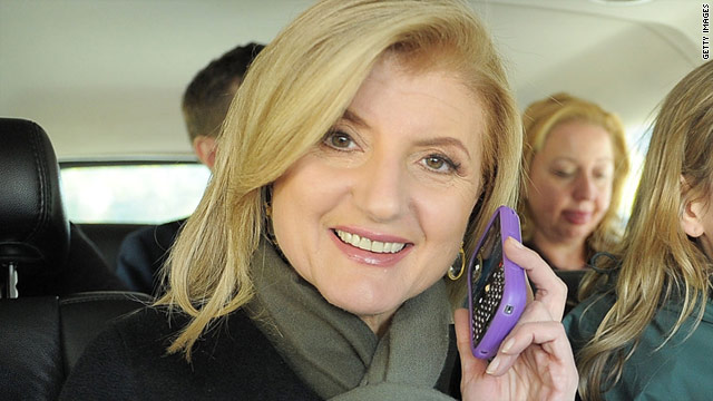 Arianna Huffington chats on her phone as she travels to an event in Washington on October 30, 2010.