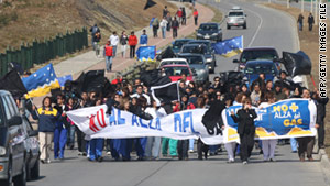 Demonstrators against fuel hikes earlier this month in Punta Arenas, Chile.