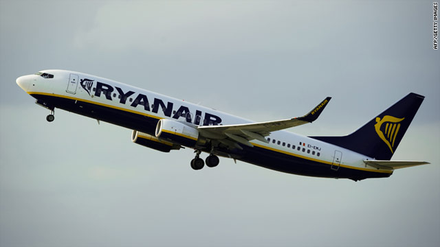 A Ryanair plane takes off from Barcelona, Spain, where a judge has ruled that one of the airline's fees is illegal.