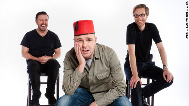 "In ""An Idiot Abroad,"" Karl Pilkington's destiny is controlled by producers Ricky Gervais, left, and Steve Merchant, right."