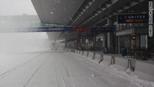 Chicago's O'Hare International Airport looks like a ghost town on Wednesday.